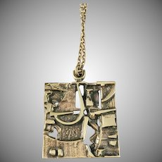 Jorma Laine Finland 1960-70s Modernist Abstract Bronze Pendant Necklace.