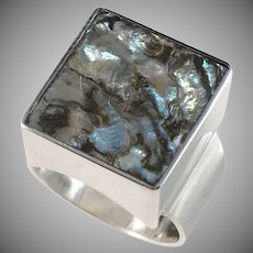 Bjerring Brothers, Copenhagen 1961-76 Sterling Silver Abalone Modernist Ring
