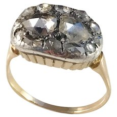 Georgian or early Victorian 18k Gold Rose Cut Diamond Closed Back Ring