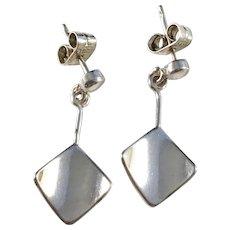 Victor Jansson, Sweden 1970s Solid Silver Modernist Earrings.