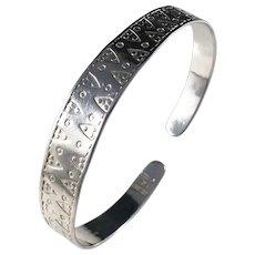 Victor Mossberg, Sweden year 1989 Sterling Silver Viking Copy Bangle Bracelet.