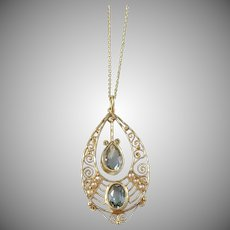 Edwardian Art Nouveau 18k Gold Filigree Spinel Seed Pearl Pendant Necklace.