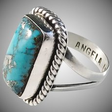 Navajo silversmith Angela Lee, c 1970 Sterling Silver Turquoise Ring