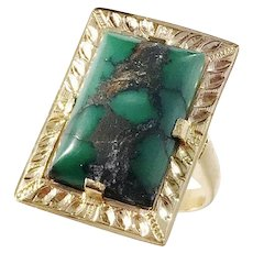 Bergströms, Sweden year 1947, Mid Century 18k Gold Turquoise Ring.