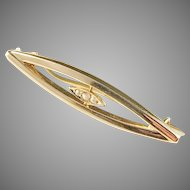 Rudolf Albertini, Stockholm year 1920 Art Deco 18k Gold Seed Pearl Pin Brooch.