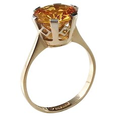Markströms, Sweden year 1968, 18k Gold Citrine Ring. Excellent.