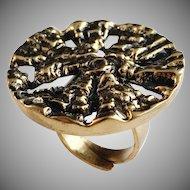 Huge Pentti Sarpaneva Finland 1960-70s, Bronze Organic Modernist Ring.