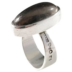 Hansen, Stockholm Sweden year 1965. Modernist Solid Silver Smoky Quartz Ring.