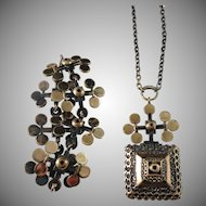 Pentti Sarpaneva Finland 1960-70s, Bronze Set Large Pendant Necklace and Bracelet.