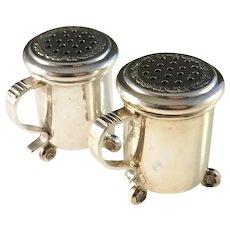 Magnus Aase, Bergen Norway Sterling Silver Small Salt Pepper Shakers. Beer Tankard Design.