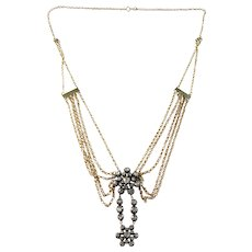 Georgian Rose Cut Diamond Halley's Comet Pendant Set In 18k Gold Empire Style Chain Necklace. Wow.