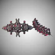 Victorian (or earlier) Flat Cut Garnet Brooch.