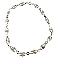 Mid Century Swedish Import Solid Silver Necklace.