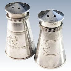 Aksel Holmsen, Norway Solid Silver Mid Century Lighthouse Salt and Pepper Shakers.