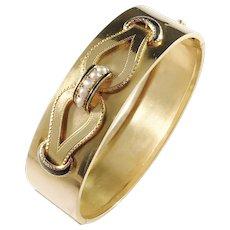 LL&Co, Sweden 1880s Victorian 18k Gold Enamel Seed Pearl Bracelet.