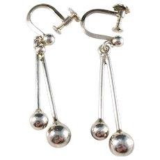 Herman Siersbøl Sterling Silver Dangle Earrings. Denmark 1960s