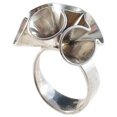Theodor Olsen, Bergen Norway Modernist 1960s Bold Sterling Silver Ring.