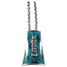 Graziella Laffi, Peru 1960s Chunky 3oz Modernist Sterling Silver Turquoise Pendant Necklace.