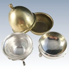 Two Antique Sterling Silver Salt Cellars. Austria c 1890 and London 1903.