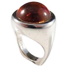 Horsens Solvvarefabrikk, Denmark 1960s Sterling Silver Amber Chunky Modernist Ring.