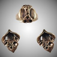 Hannu Ikonen, Finland 1970s Set Reindeer Moss Bronze Clip-on Earrings and Ring.