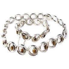 Maker TBB, Taxco Mexico Massive 8oz Sterling Tiger-Eye 1950s Necklace and Bracelet.