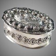 Antique c 1900 German 800 Silver Dressing Table Trinket Box.