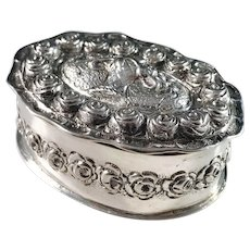Antique c 1900 German 800 Silver Dressing Table Trinket Box.