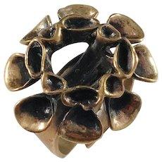 Hannu Ikonen, Finland Bronze Reindeer Moss Vintage 1970s Ring.