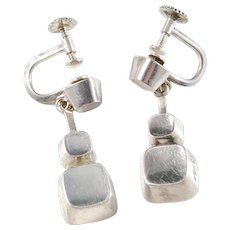Sigurd Persson for Stigbert year 1955, Iconic Cube Design Sterling Silver Earrings.