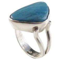O Nordström, Sweden year 1969, Modernist Solid Silver Bergslagen-Stone Ring.