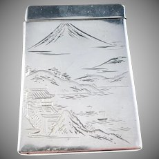 Japanese Early 1900s 950 Sterling Silver Spring Action Lid Fuji Cigarette Case Box. Signed.