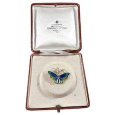 David Andersen, Norway Mid Century Sterling Silver Enamel Butterfly Pendant. Boxed.