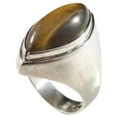 Kaplan, Stockholm, year 1961, Modernist Solid Silver Tiger-Eye Ring.