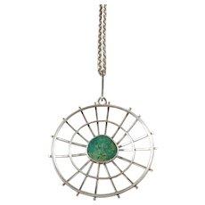 Wilhelm Hahne, Sweden 1962, Signed Solid Silver Green Hardstone Pendant Necklace.
