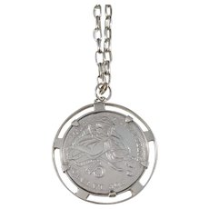 Peru, Vintage Solid Silver Chunky Coin Pendant Necklace.