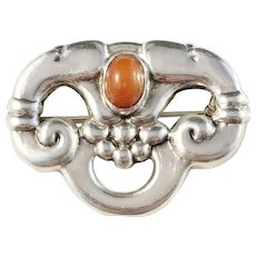 Danish Skonvirke Art Nouveau Solid Silver Amber Brooch. Imported to Sweden by G Dahlgren year 1915.