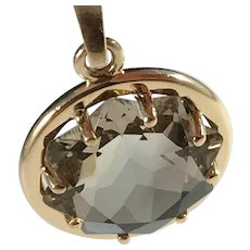Almgren, Sweden year 1970, 18k Gold Smoky Quartz Pendant. 7.3gram. Excellent.
