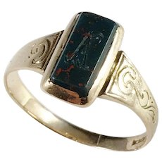 Victorian Mid 1800s, Sweden 18k Gold Bloodstone Ring. Engraved A