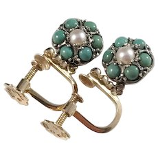 Heribert Engelbert, Stockholm year 1953 Mid Century 18k Gold, Silver Turquoise and Pearl Earrings.