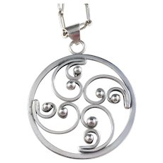 Christian Veilskov, Copenhagen 1960s, Solid Silver Pendant Necklace