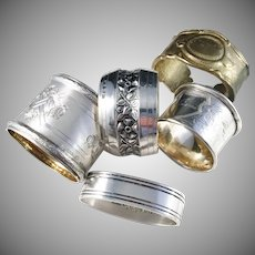 4 Solid Silver Napkin Rings. Germany, Denmark and Sweden.