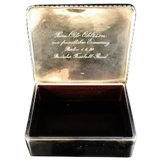Germany 1929, Solid Silver Rosewood Table Cigarette Box. The Football Association of Germany..