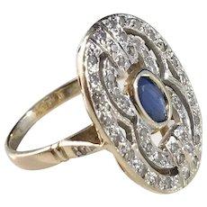 Art Deco 1930s Diamond Sapphire Ring. Stunning.