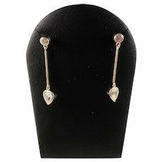 Vintage 18k Gold Rock Crystal Heart Love Dangle Earrings. Excellent.