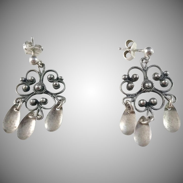Norway Antique Solid Silver Solje Earrings