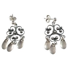 Norway, Antique Solid Silver Solje Earrings.