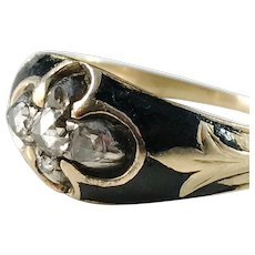 Johan Engelberth Torsk, Sweden year 1836-60 early Victorian 18k Gold Rose Cut Diamond Mourning Ring.