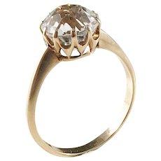Hallberg, Sweden year 1914, Antique 18k Gold Rock Crystal Ring.