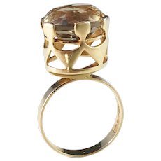 Kaplan, Stockholm year 1967 Modernist 18k Gold Yellow Smoky Quartz Ring. 7.1gram